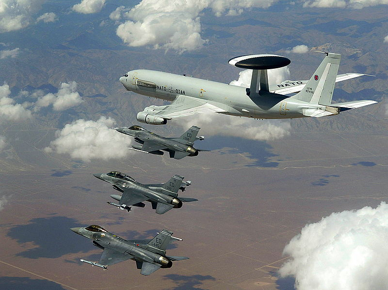 NATO E-3 AWAC flying with three U.S. Air Force F-16s in a 2003 exercise