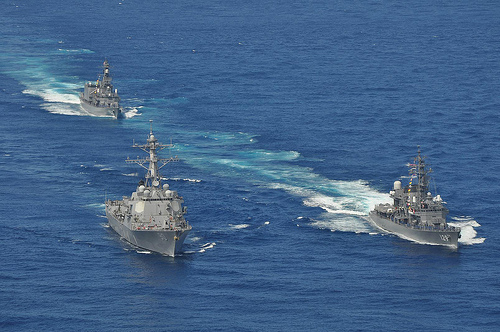 USS Chafee and JMSDF ships