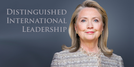 Hillary Clinton Honored for Distinguished International Leadership