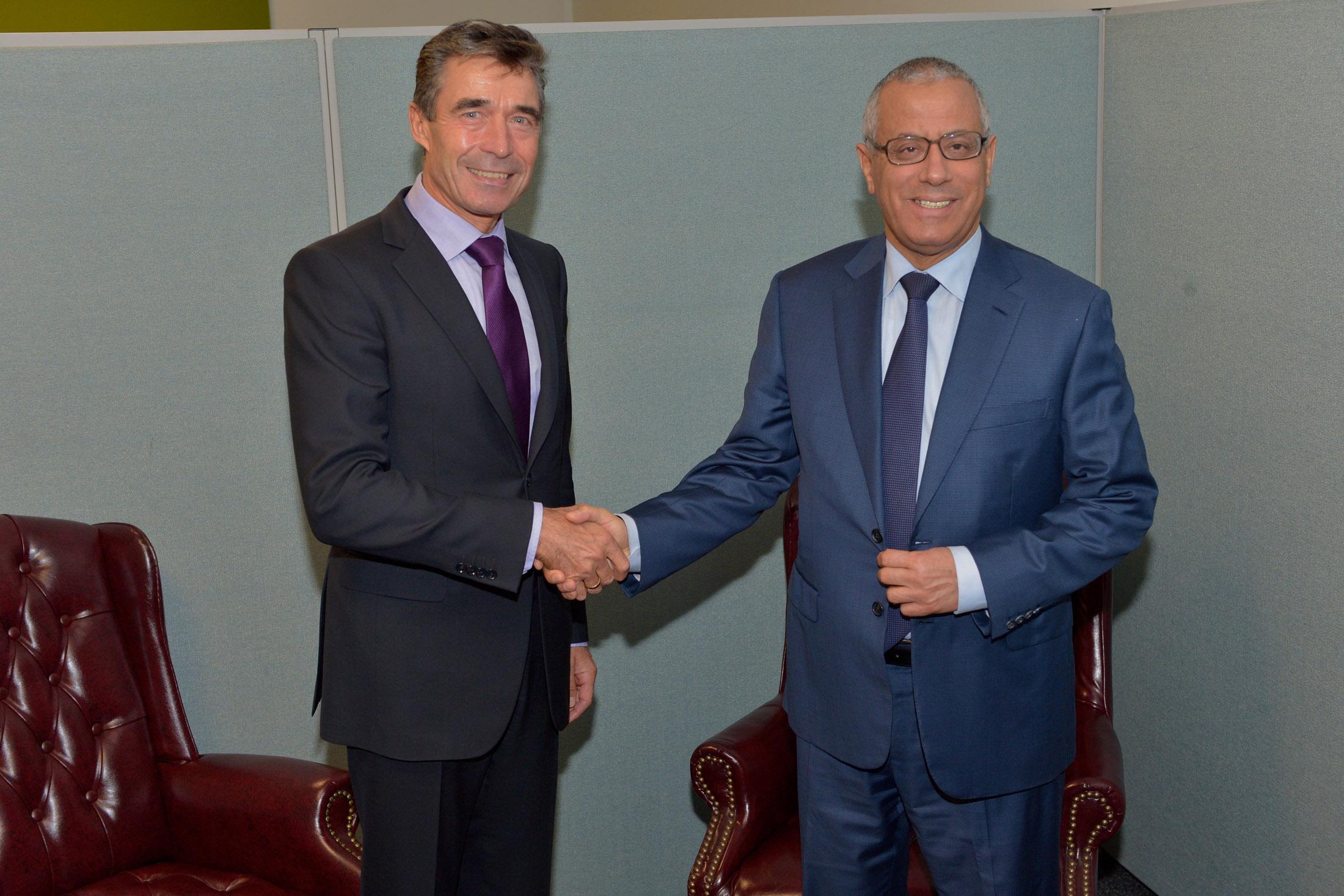 NATO Secretary General Anders Fogh Rasmussen and the Prime Minister of Libya, Ali Zeidan