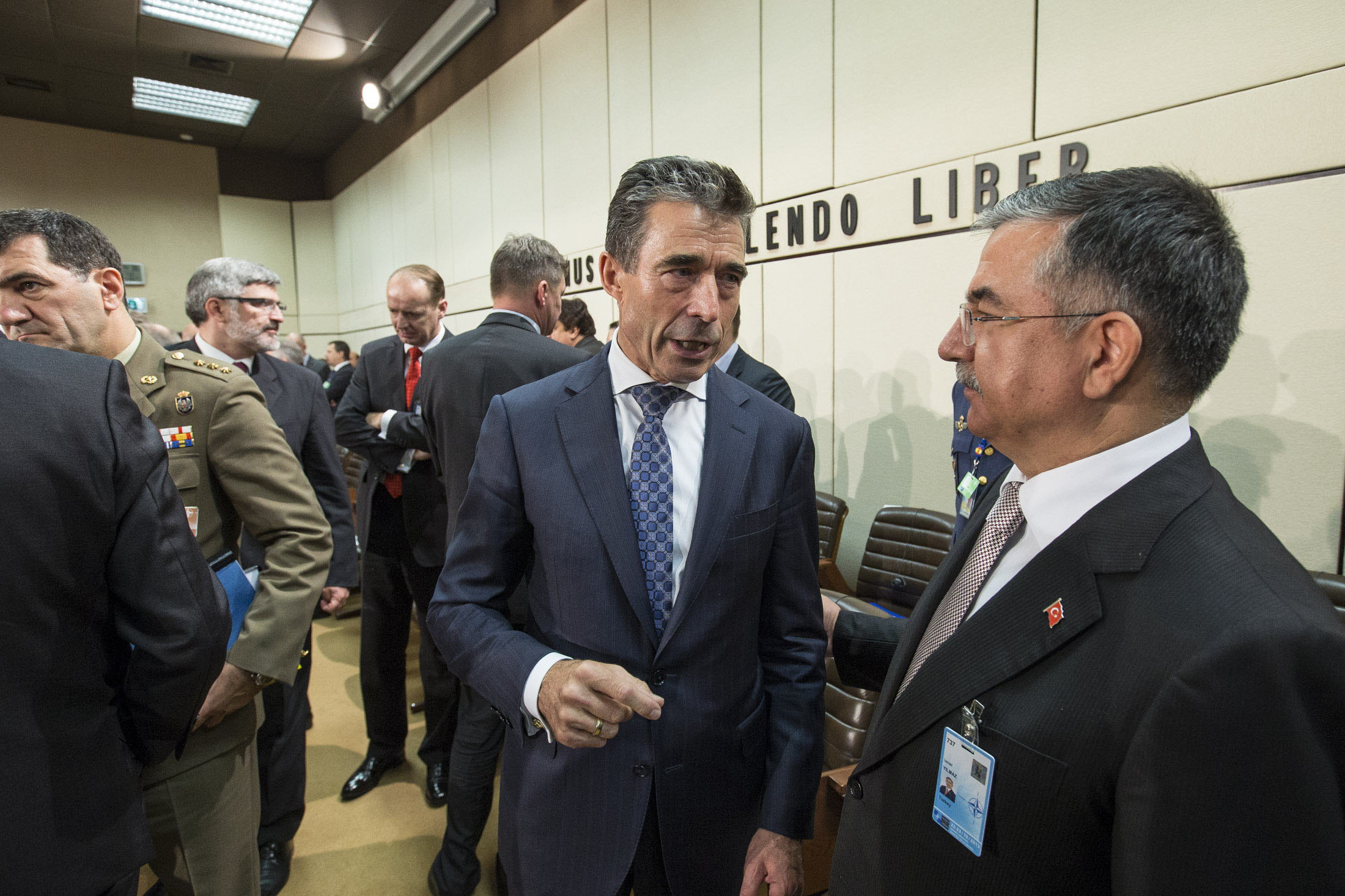 NATO Secretary General Anders Fogh Rasmussen and Turkey's Minister of Defense Ismet Yilmaz, October 22, 2013