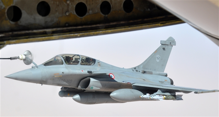 French fighter jet refuels from a KC-135 Stratotanker, March 17, 2013