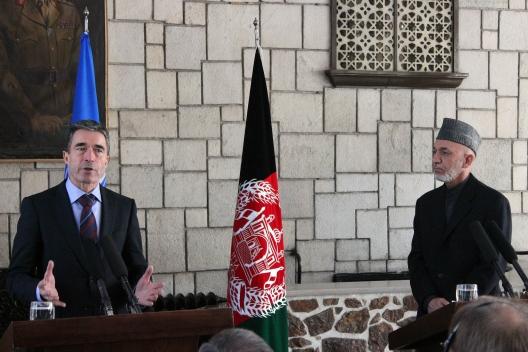 NATO Secretary General Anders Fogh Rasmussen in Afghanistan, March 4, 2013
