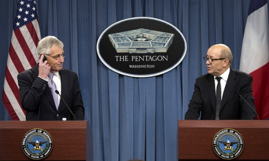 Secretary of Defense Chuck Hagel and French Defense Minister Jean-Yves Le Drian