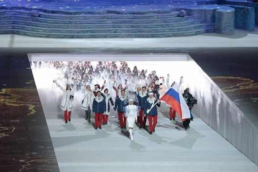 Russia's team at the Opening Ceremony for the Sochi Olympics
