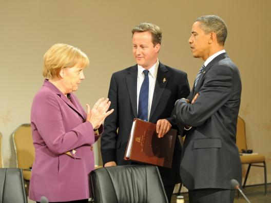 Chancellor Angela Merkel, PM David Cameron and President Barack Obama, June 15, 2009