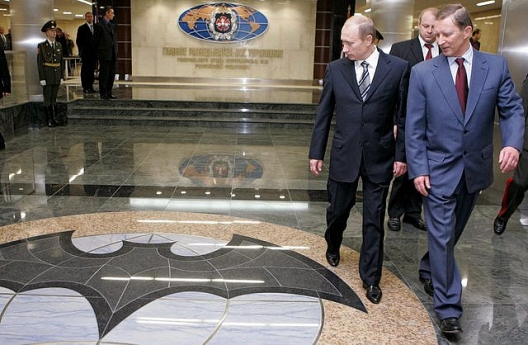 Russian President Vladimir Putin at GRU headquarters, March 13, 2008