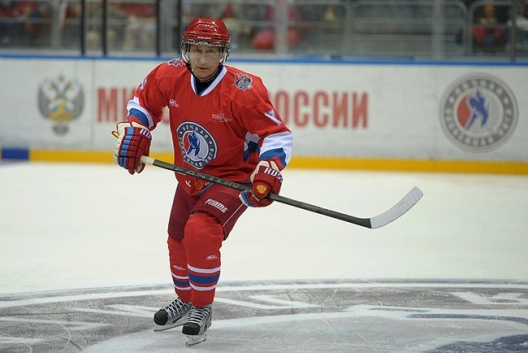 President Vladimir Putin with Russia's National Amateur Ice Hockey Team, May 10, 2014