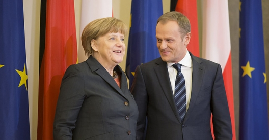 German Chancellor Angela Merkel and Polish Prime Minister Donald Tusk