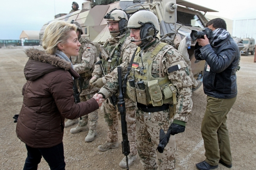 German Defense Minister Ursula von der Leyen in Afghanistan, December 23, 2013