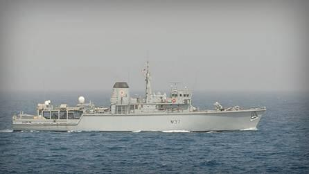 British minesweeper taking part in the NATO multinational exercise Breeze 2014