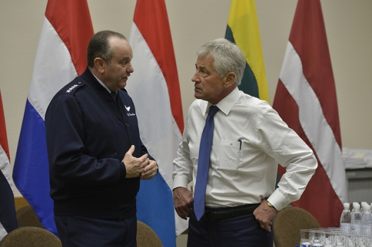 SACEUR Gen. Philip Breedlove and Secretary of Defense Chuck Hagel, Feb. 26, 2014