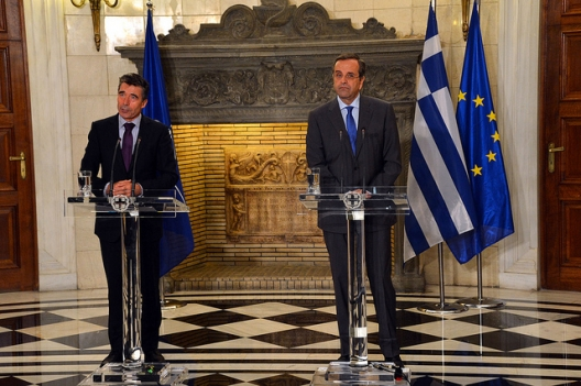 Secretary General Anders Fogh Rasmussen and Greek Prime Minister Antonis Samaras, Oct., 11, 2013