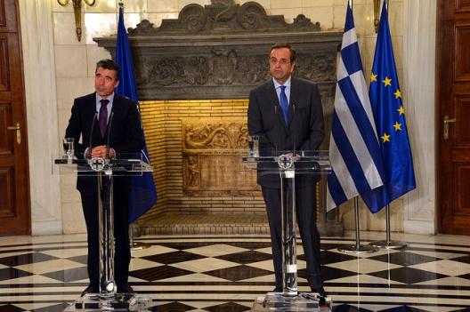 Secretary General Anders Fogh Rasmussen and Greek Prime Minister Antonis Samaras, Oct., 11, 2013