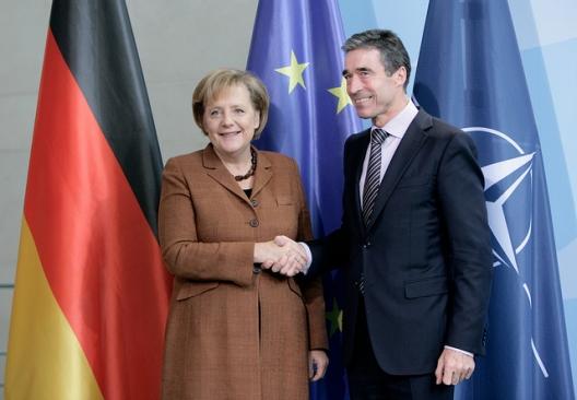 German Chancellor Angela Merkel and Secretary General Anders Fogh Rasmussen, Oct. 22, 2010