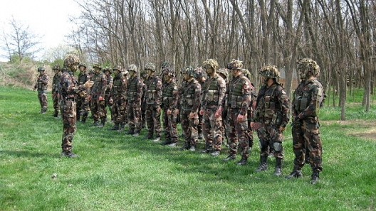 Soldiers in Hungary's 25/88th Light Mixed Battalion, April 13, 2012