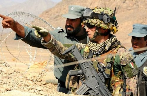 Italian soldier with Afghan National Police, March 15, 2013