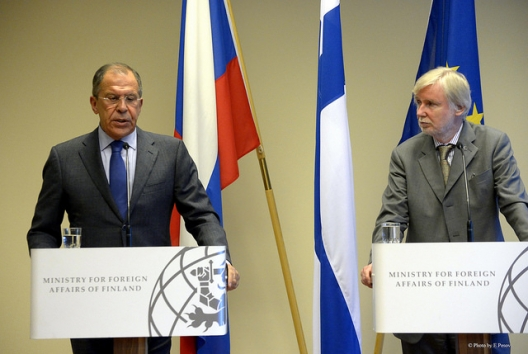 Russian Foreign Minister Sergei Lavrov and Finnish Foreign Minister Erkki Tuomioja, June 9, 2014