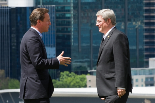 British Prime Minister David Cameron and Canadian Prime Minister Stephen Harper, Oct. 29, 2011