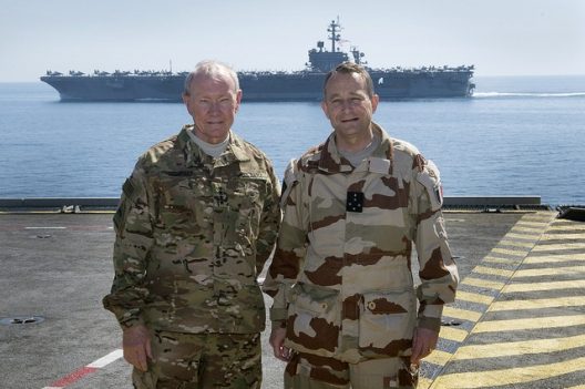 Gen. Martin Dempsey and Gen. Pierre de Villiers aboard the French aircraft carrier Charles de Gaulle, March 8, 2015