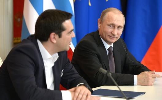 Greek Prime Minister Alexis Tsipras and Russian President Vladimir Putin, April 8, 2015