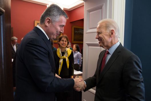 Vice President Joe Biden and Montenegrin Prime Minister Milo Djukanovic, April 8, 2014
