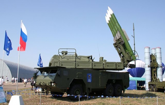 Launcher and radar from Buk-M2E missile system at MAKS-2011 airshow