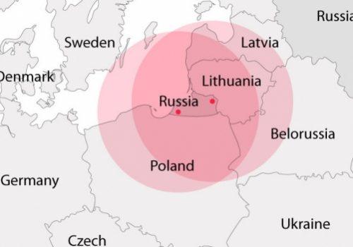 Range of Russia's Iskander missiles when deployed in Kaliningrad