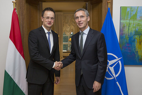 Hungarian Foreign Minister Peter Szijjarto and Secretary General Jens Stoltenberg, Nov. 18, 2014
