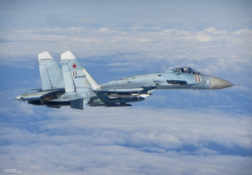 Russian Su-27 fighter jet intercepted by UK Typhoon participating in NATO's Baltic Air Policing mission, June 17, 2014
