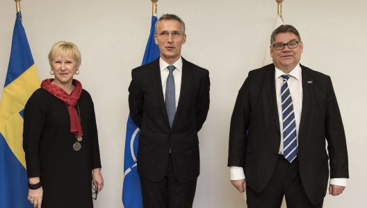 Swedish Foreign Minister Margo Wallstrom, Secretary General Jens Stoltenberg, and Finnish Foreign Minister Timo Soini, Dec. 1, 2015