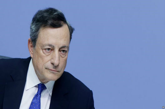 European Central Bank Chief Mario Draghi at a press conference on December 8