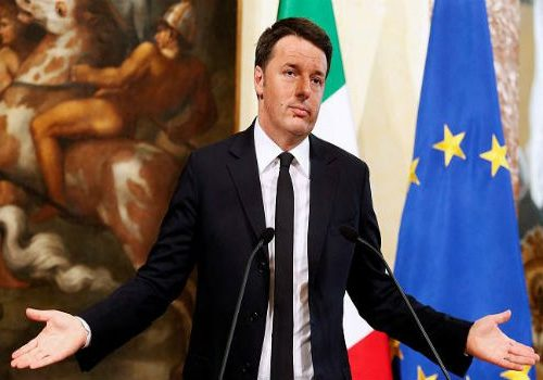 Italian Prime Minister Matteo Renzi at a press conference