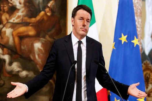 Italian Prime Minister Matteo Renzi at a press conference