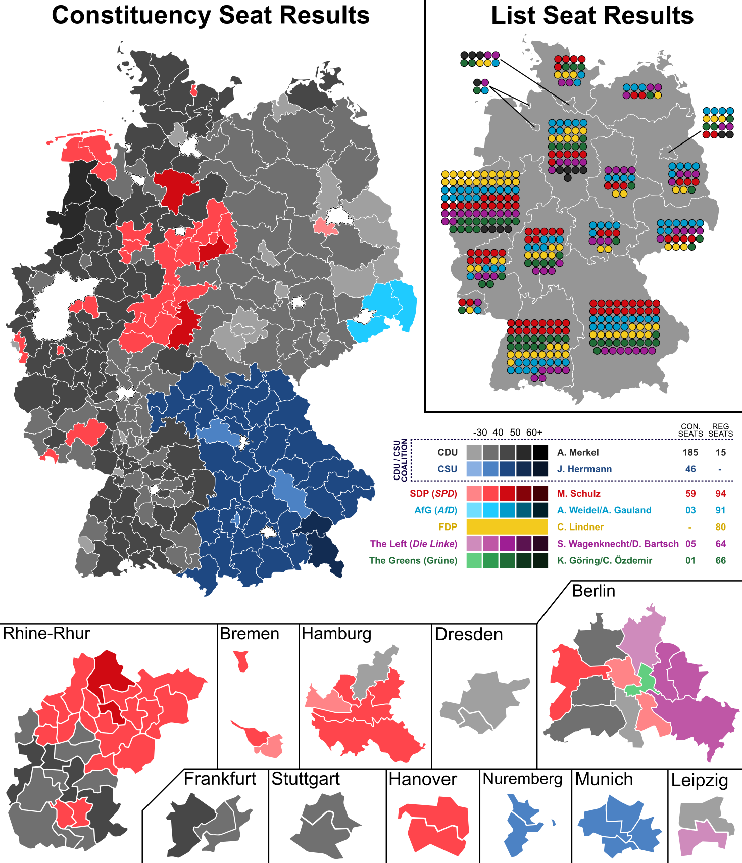 German Federal Election 2017 Results by Constituency Regional Seats