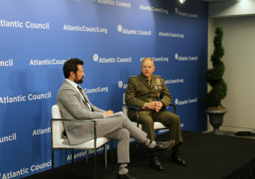 General Robert Neller, Commandant of the US Marine Corps, speaks with moderator Kevin Baron during a Commanders Series event at the Atlantic Council.
