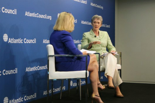 Secretary of the Air Force Heather Wilson (right) speaks with Christine Wormuth (left) on strengthening US alliances at the Atlantic Council.