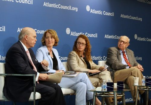 From left to right: Panelists Mr. Olin Wethington, Dr. Kristin Lord, Ms. Suzanne Nossel, and Ambassador Thomas Pickering discuss the implications of divergent values in a multipolar world.