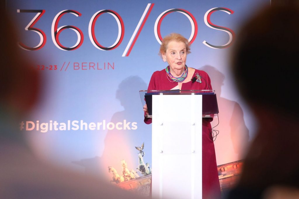 "Secretary Albright at 360/OS Summit: ""Democracy's enemies have become adept at polluting social media platforms with rumors, disinformation, and anti-democratic propaganda"""