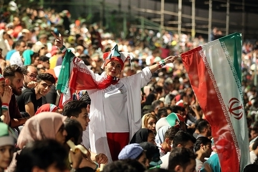 An Iranian woman attends a viewing of the Iran-Portugal World Cup match on June 25, 2018 in Tehran's Azadi Stadium (Wikimedia Commons/Fars News)