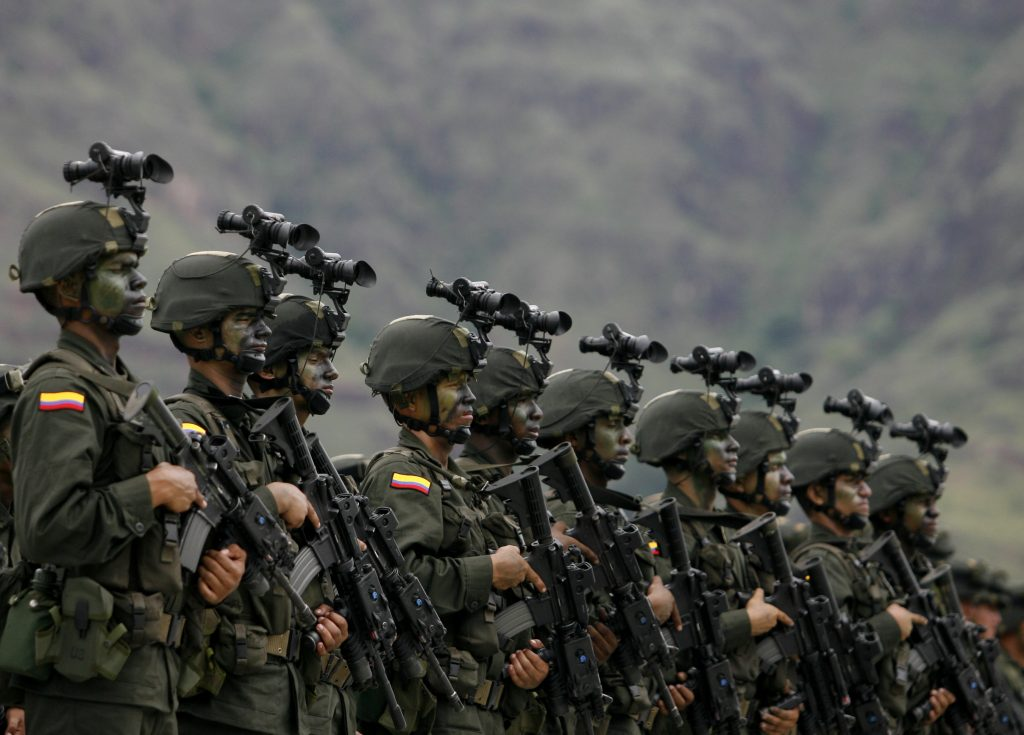 Colombian national policemen attend the inauguration of an international training school in Pijao, Tolima, Colombia in 2009. For decades Colombia, alongside the United States, has helped train policemen and military officials both within its own borders and in the region.   (REUTERS/John Vizcaino)