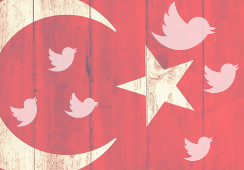 Turkish flag with Twitter logo superimposed