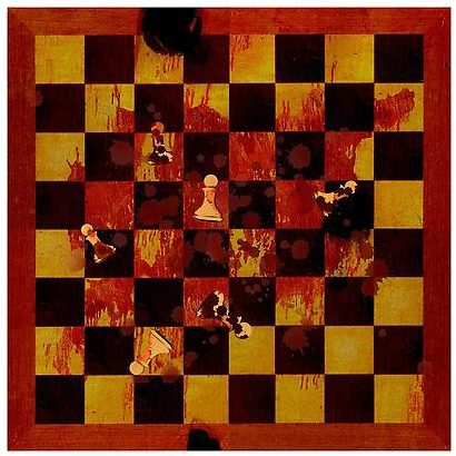 An image of a bloodied chessboard with pawns strewn about.