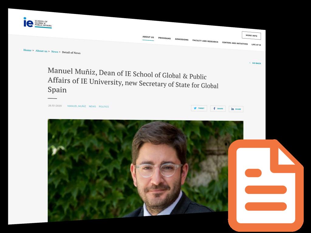 Millennium Fellow Manuel Muniz named Spain's New Secretary of State for Global Spain
