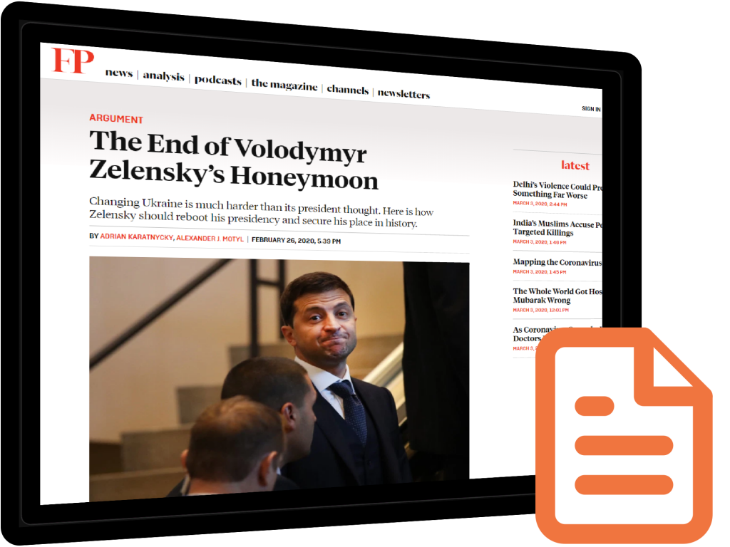 Karatnycky in Foreign Policy: The End of Zelenskyy's Honeymoon