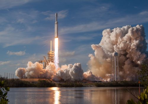 space rocket taking off from the launchpad