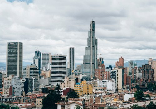 Aerial view of high-rise buildings in Bogota, Colombia.