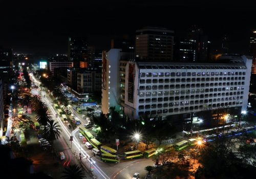 Time-lapse photography of roadway and building in Nairobi, Kenya