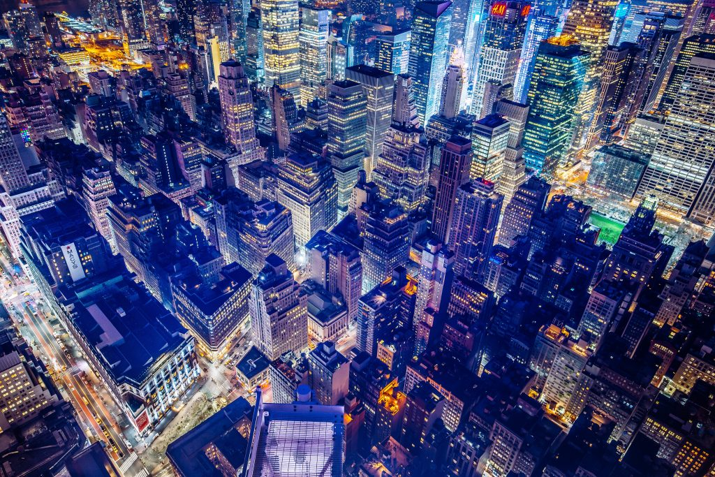 gtc new york city cityscape from above at night
