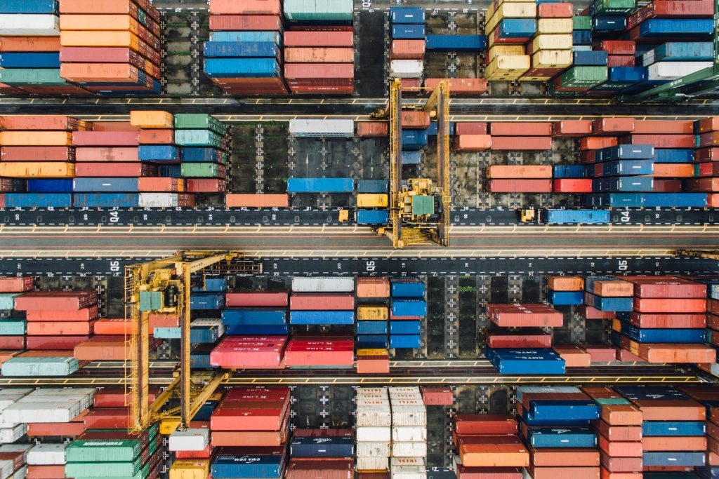 gtc overhead view of shipping containers and industry from above